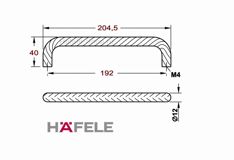 Мебельная ручка винтажная, нержавеющая сталь, 204,5 х 40 мм