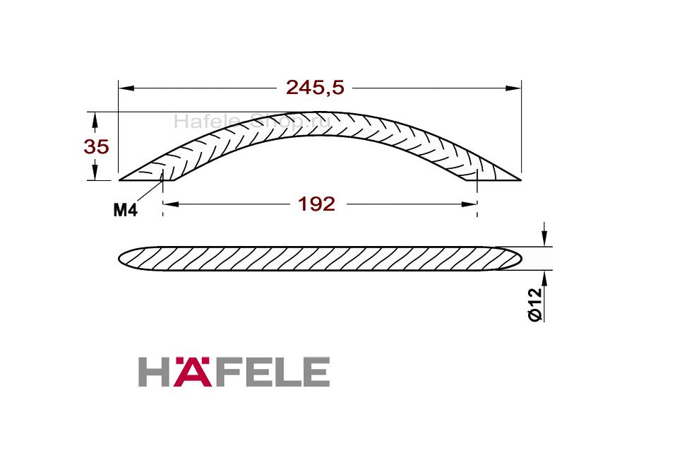 Ручка винтажная мебельная, сталь, 245,5 х 35 мм
