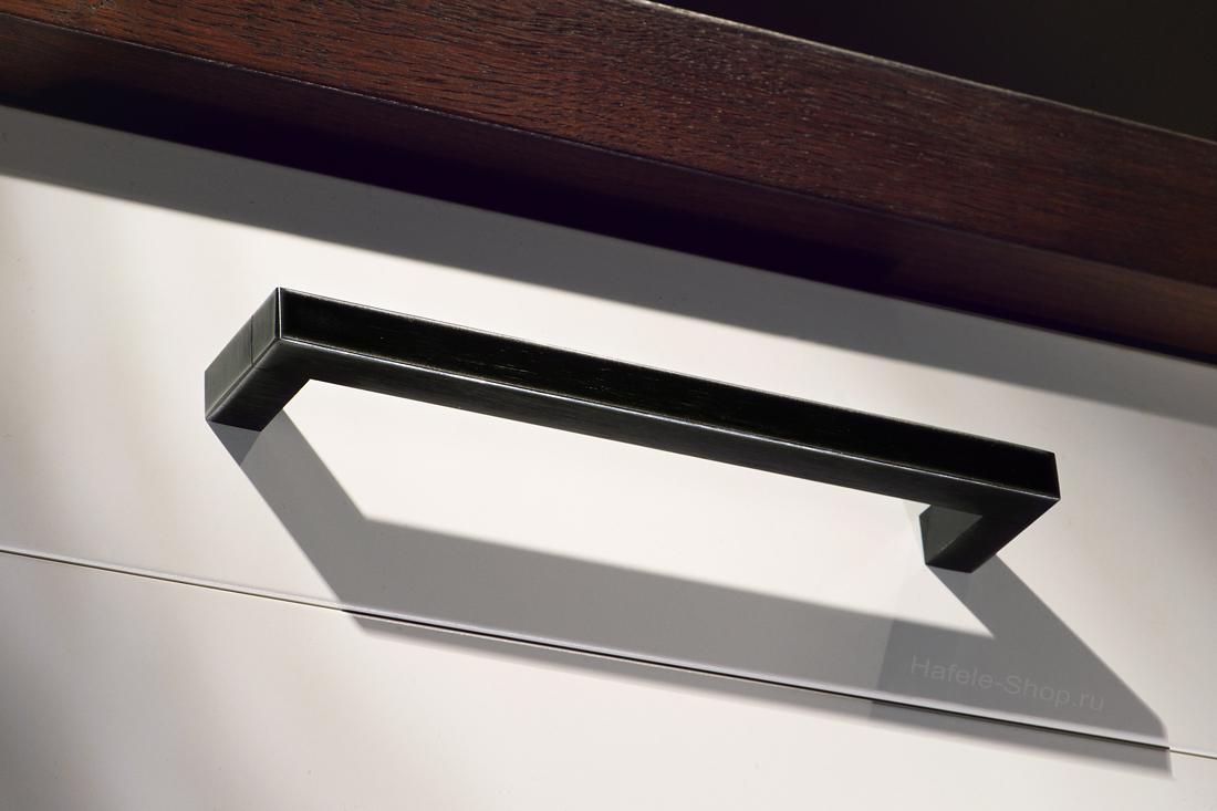 Ручка мебельная винтажная, сталь, черная, потертая, 140 х 35 мм