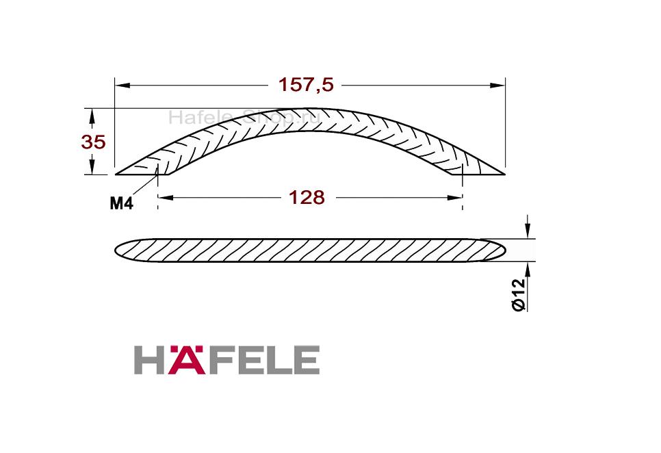 Ручка винтажная мебельная, сталь, 157,5 х 35 мм