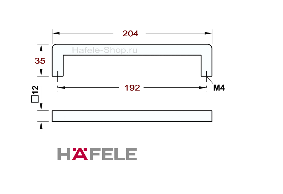 Ручка мебельная винтажная, сталь, черная, потертая, 204 х 35 мм