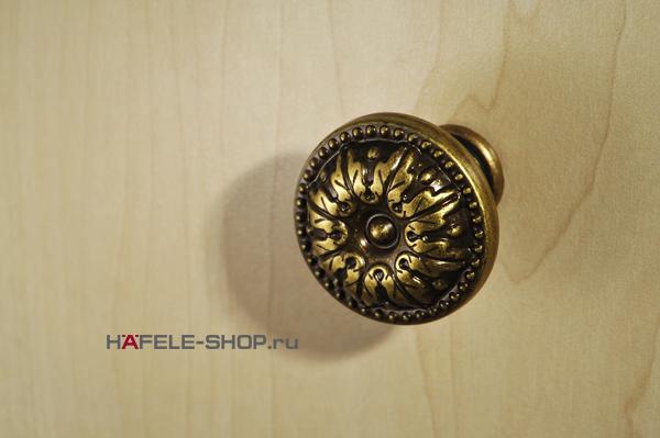 Мебельная ручка кнопка, латунь, цвет бронза, 26 x 19 мм
