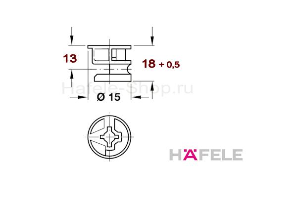 Эксцентрик мебельный MINIFIX 15 без покрытия, для плит толщиной от 26 мм