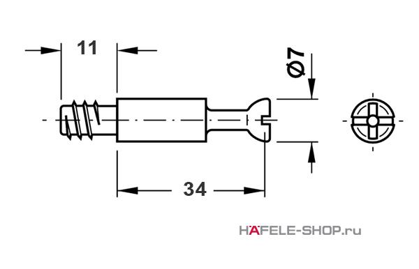 Болт мебельный для MINIFIX 15 без покрытия 5 мм / 34 мм