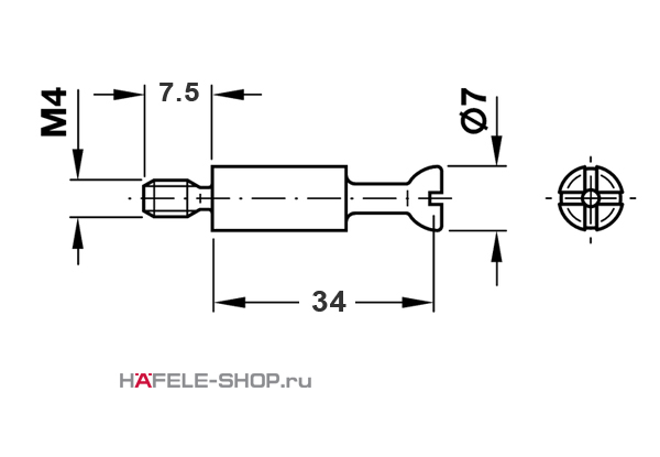 Болт мебельный для MINIFIX 15 без покрытия M4 / 34 мм