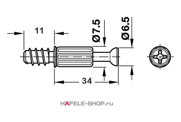 Болт мебельный для MINIFIX 15 без покрытия 5/11/34 мм