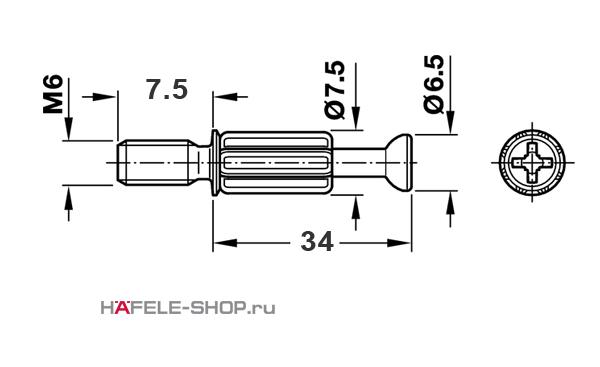 Болт мебельный для MINIFIX 15 без покрытия  М6 х 7,5/34 мм
