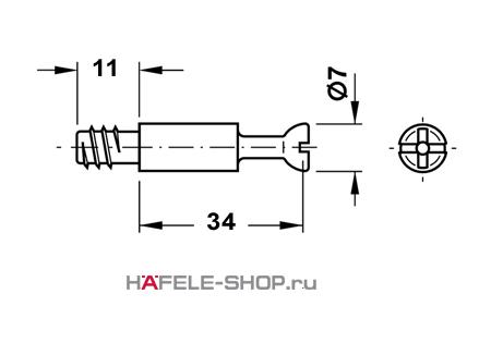 Болт мебельный для MINIFIX 15 оцинкованный 5 мм / 34 мм