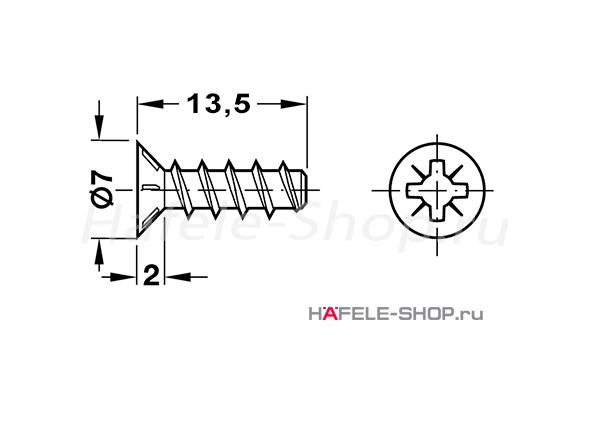 Винт мебельный VARIANTA оцинкованный с потайной головкой для отверстия 3мм длина 13,5 мм