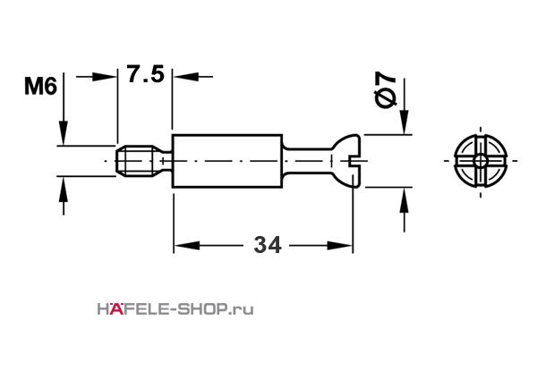 Болт мебельный для MINIFIX 15 оцинкованный M6 / 34 мм