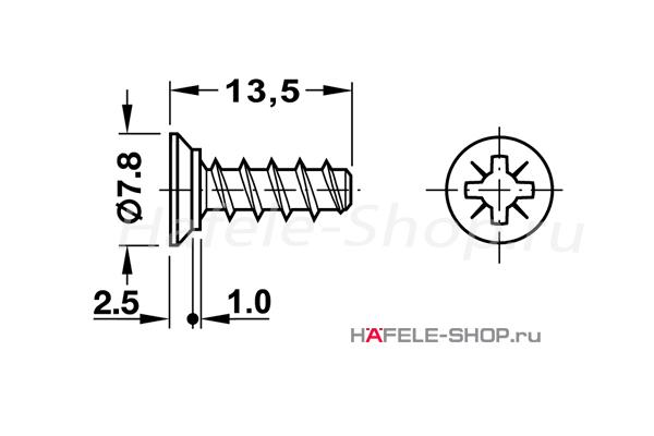 Винт мебельный VARIANTA никелированный для отверстия 3мм длина 13,5 мм с выступающей головкой