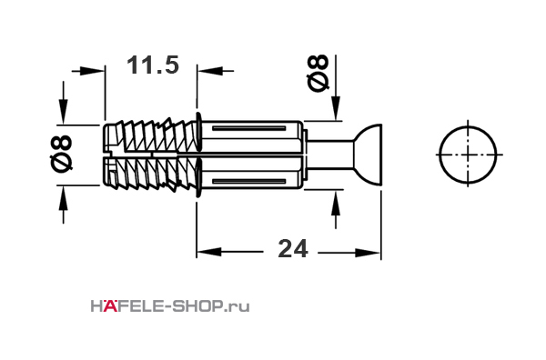 Болт мебельный для MINIFIX 8/24 мм