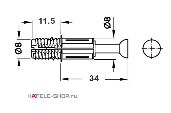 Болт мебельный для MINIFIX 8х11,5/34мм, для плит от 15 мм