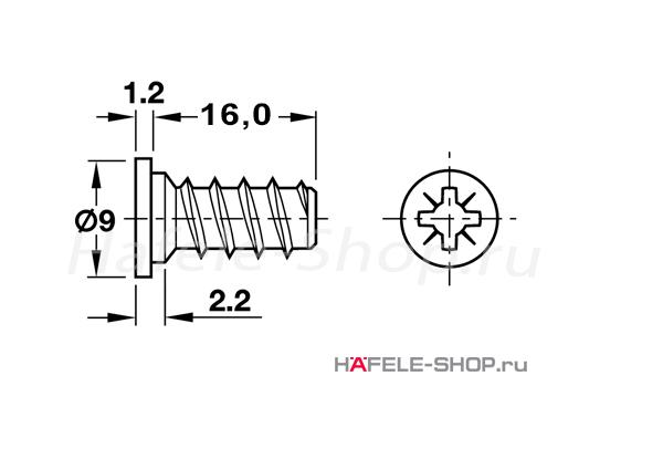 Винт мебельный VARIANTA никелированный для отверстия 5 мм длина 16,5 мм с выступающей головкой