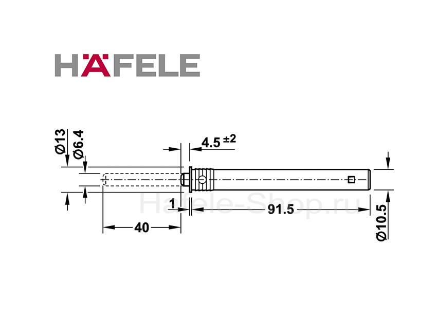 Нажимной толкатель с магнитом, длина хода 40 мм, монтаж в отверстие 11 мм.