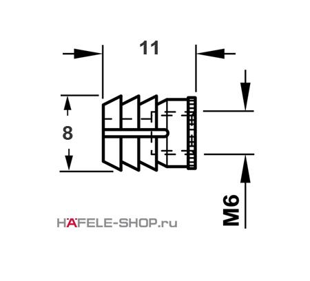 Мебельная муфта для вклеивания, с внутренней резьбой M6 для отверстия 8 мм, длина 11 мм