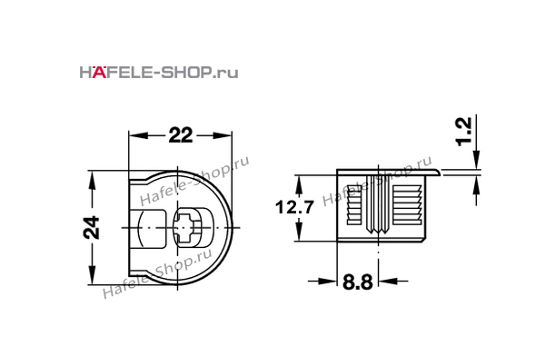 Стяжка мебельная RAFIX 20 с утолщением никелированная для деталей толщиной от 16 мм