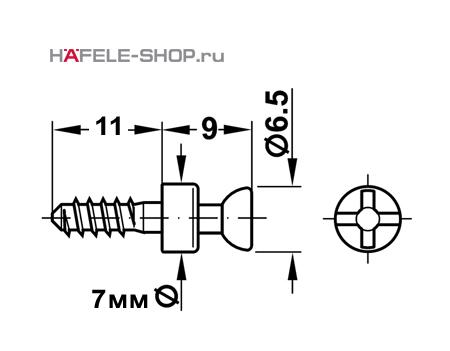Болт мебельный для RAFIX без покрытия   D=7 мм / B.3 мм