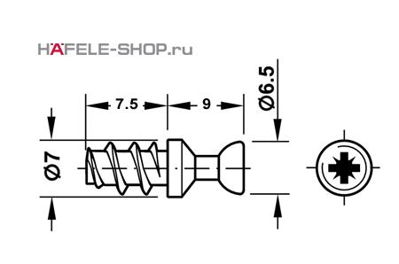 Болт мебельный для RAFIX оцинкованный  D=7 мм / B.5/7,4 мм