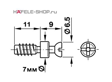 Болт мебельный для RAFIX без покрытия 7х5/11 мм