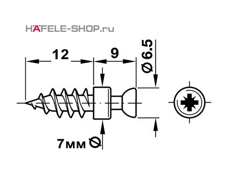 Болт мебельный для RAFIX оцинкованный PZ D=7 мм /B. 5мм