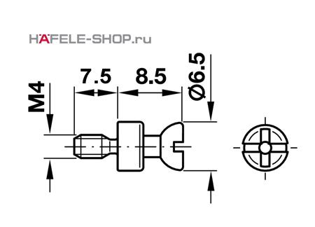 Болт мебельный для RAFIX без покрытия    7 мм / M4