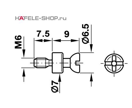 Болт мебельный для RAFIX без покрытия    7 мм / M6