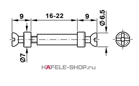 Двойной мебельный болт для RAFIX   без покрытия 7/16-22 мм {263.24.130+263.24.149}