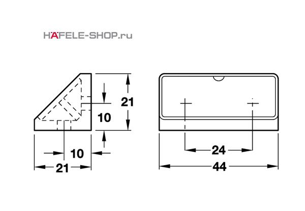 Угловая мебельная стяжка с заглушкой белая 44 мм