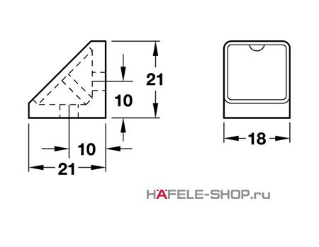 Угловая мебельная стяжка MINI с заглушкой темно-коричневая 18 мм