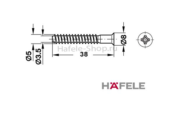 Мебельный болт СONFIRMAT, крестовой PZ2, оцинкованный, 5 x 38 мм