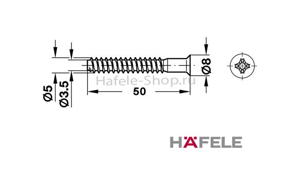 Мебельный болт СONFIRMAT, крестовой PZ3, оцинкованный, 5 x 50 мм