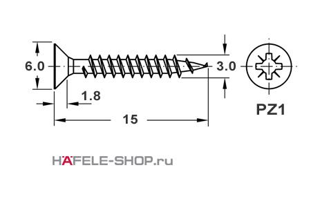 Шуруп HOSPA с потайной головкой оцинкованный  3,0x15 мм, диаметр головки 6 мм.