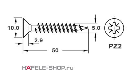 Шуруп HOSPA с потайной головкой оцинкованный  5,0x50 мм