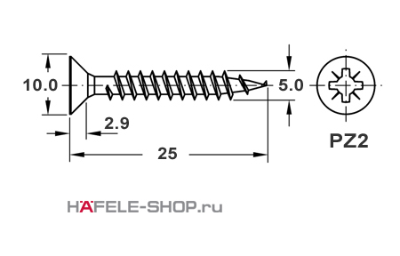 Шуруп HOSPA с потайной головкой оцинкованный  5,0x25 мм