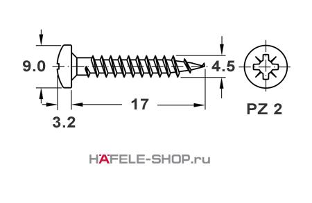 Шуруп HOSPA с полукруглой головкой оцинкованный  4,5x17 мм