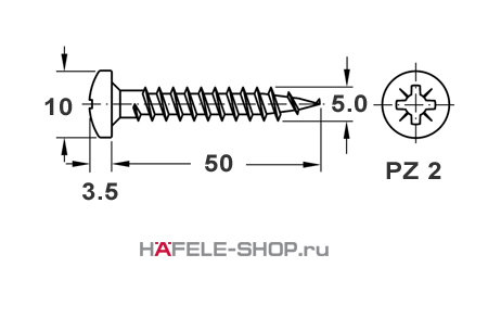 Шуруп HOSPA с полукруглой головкой оцинкованный 5,0x50 мм