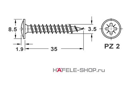 Шуруп  HOSPA с тарельчатой головкой для задней стенки оцинкованный 3,5x35 мм