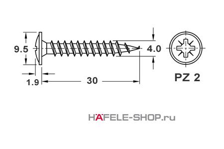 Шуруп  HOSPA с тарельчатой головкой для задней стенки оцинкованный 4х30 мм