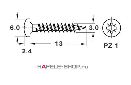 Шуруп HOSPA с полукруглой головкой оцинкованный 3,0x13 мм