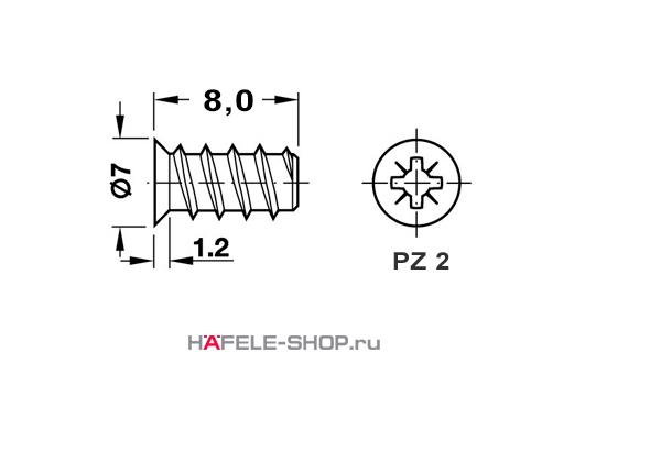 Винт мебельный VARIANTA оцинкованный с потайной головкой для отверстия 5мм длина 8,0 мм (упаковка  8 тысяч штук)