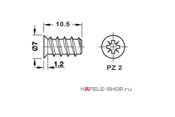 Винт мебельный VARIANTA оцинкованный с потайной головкой для отверстия 5мм длина 10,5 мм (упаковка  5 тысяч штук)