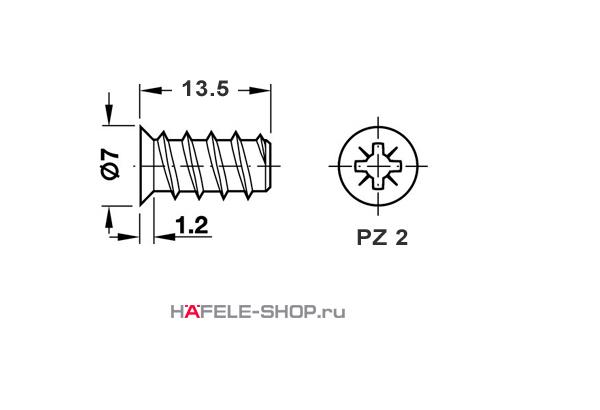 Винт мебельный VARIANTA оцинкованный с потайной головкой для отверстия 5мм длина 13,5 мм