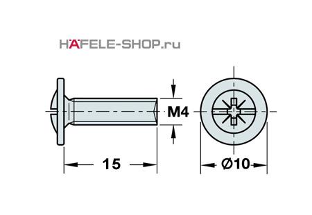 Винт мебельный никелированный M4x15 мм