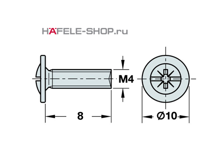 Винт мебельный оцинкованный M4x8 мм