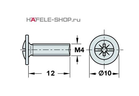 Винт мебельный оцинкованный M4x12 мм