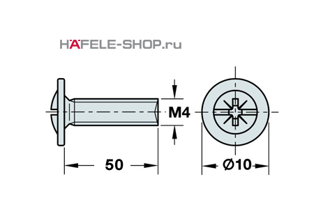 Винт мебельный оцинкованный M4x50 мм