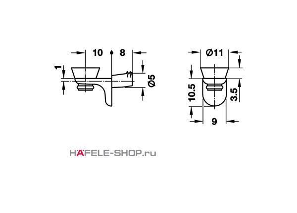 Полкодержатель для стеклянных полок 5/11 мм