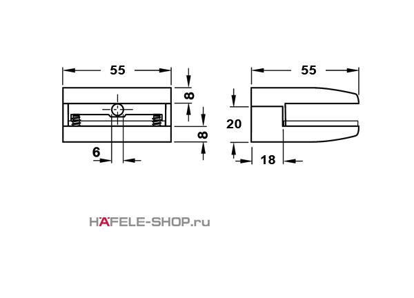 Зажимной полкодержатель, цвет нержавеющая сталь 8-10 мм