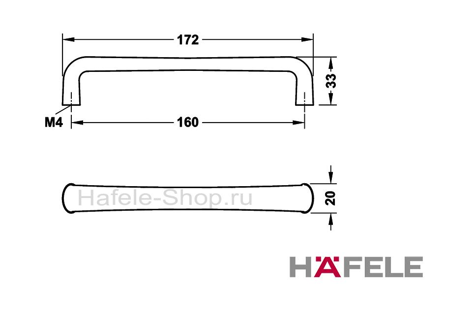 Ручка мебельная, цвет черный никель ошкуренный, длина 172 мм, между винтами 160 мм